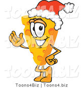 Vector Illustration of a Cartoon Cheese Mascot Wearing a Santa Hat - Royalty Free Vector Illustration by Toons4Biz