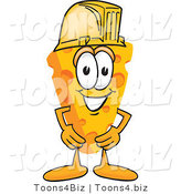 Vector Illustration of a Cartoon Cheese Mascot Wearing a Yellow Hardhat by Toons4Biz
