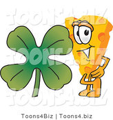 Vector Illustration of a Cartoon Cheese Mascot with a Shamrock - Royalty Free Vector Illustration by Toons4Biz