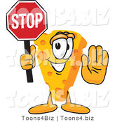 Vector Illustration of a Cartoon Cheese Mascot with His Hand Out, Holding a Stop Sign by Toons4Biz