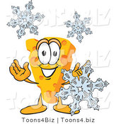Vector Illustration of a Cartoon Cheese Mascot with Snowflakes - Royalty Free Vector Illustration by Toons4Biz