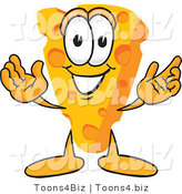 Vector Illustration of a Cartoon Cheese Mascot with Welcoming Open Arms by Toons4Biz