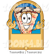 Vector Illustration of a Cartoon Cheese Pizza Mascot on a Blank Tan Label or Sign by Toons4Biz