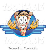 Vector Illustration of a Cartoon Cheese Pizza Mascot on a Blue Business Logo by Toons4Biz