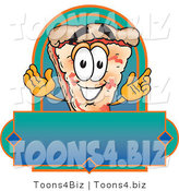 Vector Illustration of a Cartoon Cheese Pizza Mascot over a Blank Banner by Toons4Biz