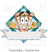 Vector Illustration of a Cartoon Cheese Pizza Mascot over a Blank White Business Label Banner by Toons4Biz