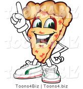 Vector Illustration of a Cartoon Cheese Pizza Mascot Pointing up by Toons4Biz