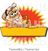 Vector Illustration of a Cartoon Cheese Pizza Mascot Reclining on a Blank Yellow and Orange Label by Toons4Biz