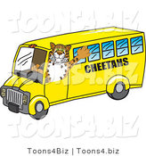 Vector Illustration of a Cartoon Cheetah Mascot Driving a Bus by Toons4Biz