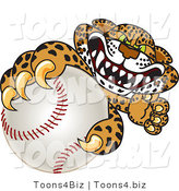 Vector Illustration of a Cartoon Cheetah Mascot Grabbing a Baseball by Toons4Biz