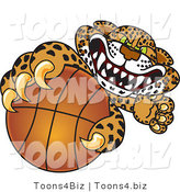 Vector Illustration of a Cartoon Cheetah Mascot Grabbing a Basketball by Toons4Biz