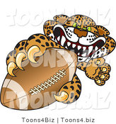 Vector Illustration of a Cartoon Cheetah Mascot Grabbing a Football by Toons4Biz