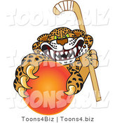 Vector Illustration of a Cartoon Cheetah Mascot Grabbing a Hockey Ball by Toons4Biz