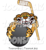 Vector Illustration of a Cartoon Cheetah Mascot Grabbing a Hockey Puck by Toons4Biz