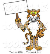 Vector Illustration of a Cartoon Cheetah Mascot Holding a Blank Sign by Toons4Biz
