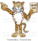 Vector Illustration of a Cartoon Cheetah Mascot Holding a Report Card by Toons4Biz