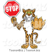 Vector Illustration of a Cartoon Cheetah Mascot Holding a Stop Sign by Toons4Biz