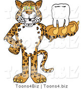 Vector Illustration of a Cartoon Cheetah Mascot Holding a Tooth by Toons4Biz