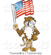 Vector Illustration of a Cartoon Cheetah Mascot Holding an American Flag by Toons4Biz