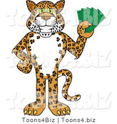 Vector Illustration of a Cartoon Cheetah Mascot Holding Money by Toons4Biz