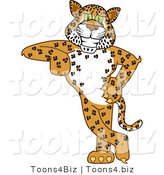 Vector Illustration of a Cartoon Cheetah Mascot Leaning by Toons4Biz