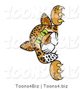 Vector Illustration of a Cartoon Cheetah Mascot Looking Around a Corner by Toons4Biz