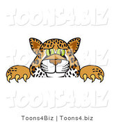 Vector Illustration of a Cartoon Cheetah Mascot Looking over a Surface by Toons4Biz