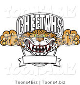 Vector Illustration of a Cartoon Cheetah Mascot Lurching out of a Banner by Toons4Biz