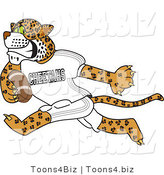 Vector Illustration of a Cartoon Cheetah Mascot Playing Football by Toons4Biz