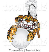 Vector Illustration of a Cartoon Cheetah Mascot Playing Lacrosse by Toons4Biz