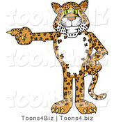 Vector Illustration of a Cartoon Cheetah Mascot Pointing Left by Toons4Biz