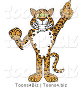 Vector Illustration of a Cartoon Cheetah Mascot Pointing up by Toons4Biz