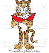Vector Illustration of a Cartoon Cheetah Mascot Reading by Toons4Biz