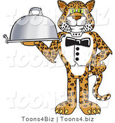 Vector Illustration of a Cartoon Cheetah Mascot Serving a Platter by Toons4Biz