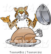 Vector Illustration of a Cartoon Cheetah Mascot Serving a Thanksgiving Turkey by Toons4Biz