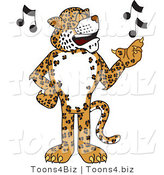 Vector Illustration of a Cartoon Cheetah Mascot Singing by Toons4Biz