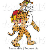 Vector Illustration of a Cartoon Cheetah Mascot Walking and Wearing a Backpack by Toons4Biz