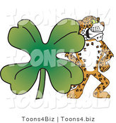 Vector Illustration of a Cartoon Cheetah Mascot with a Clover by Toons4Biz
