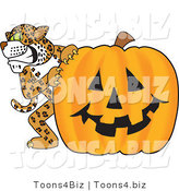 Vector Illustration of a Cartoon Cheetah Mascot with a Halloween Pumpkin by Toons4Biz