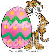Vector Illustration of a Cartoon Cheetah Mascot with an Easter Egg by Toons4Biz
