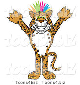 Vector Illustration of a Cartoon Cheetah Mascot with Colorful Hair by Toons4Biz