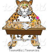 Vector Illustration of a Cartoon Cheetah Mascot Writing in Class by Toons4Biz