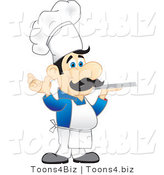 Vector Illustration of a Cartoon Chef Mascot in a Blue Shirt, Holding a Platter by Toons4Biz