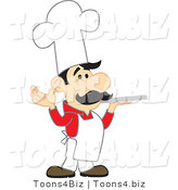 Vector Illustration of a Cartoon Chef Mascot in a Red Shirt, Holding a Platter by Toons4Biz