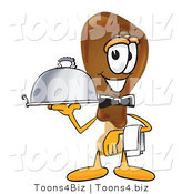 Vector Illustration of a Cartoon Chicken Drumstick Mascot Dressed As a Waiter and Holding a Serving Platter by Toons4Biz
