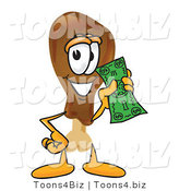 Vector Illustration of a Cartoon Chicken Drumstick Mascot Holding a Dollar Bill by Toons4Biz