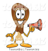 Vector Illustration of a Cartoon Chicken Drumstick Mascot Holding a Megaphone by Toons4Biz