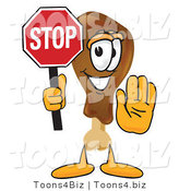 Vector Illustration of a Cartoon Chicken Drumstick Mascot Holding a Stop Sign by Toons4Biz