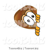 Vector Illustration of a Cartoon Chicken Drumstick Mascot Peeking Around a Corner by Toons4Biz