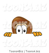 Vector Illustration of a Cartoon Chicken Drumstick Mascot Peeking over a Surface by Toons4Biz